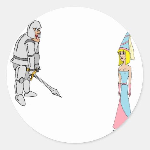 Princesa y caballero (fondo llano) pegatina redonda