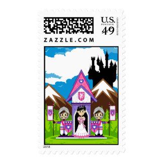 Princesa y caballeros en el mini sello del castill