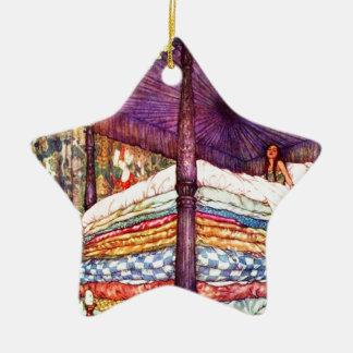 Princesa y el guisante adorno navideño de cerámica en forma de estrella