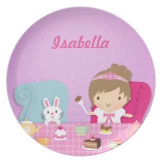 Princesa y fiesta del té lindas del conejito para plato de comida