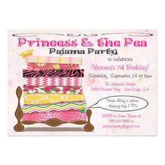 Princesa y la fiesta de cumpleaños del pijama del comunicado personalizado