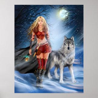 Princesa y lobo del guerrero del invierno del impresiones