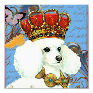 """Princesa y mariposas blancas del caniche invitación 5.25"""" x 5.25"""""""
