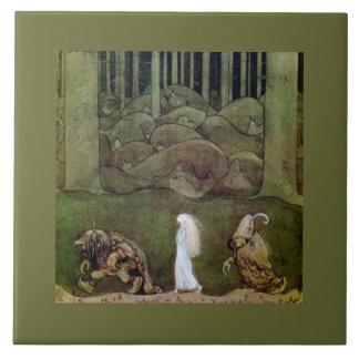 Princesa y paseo de los duendes a través del azulejo cuadrado grande