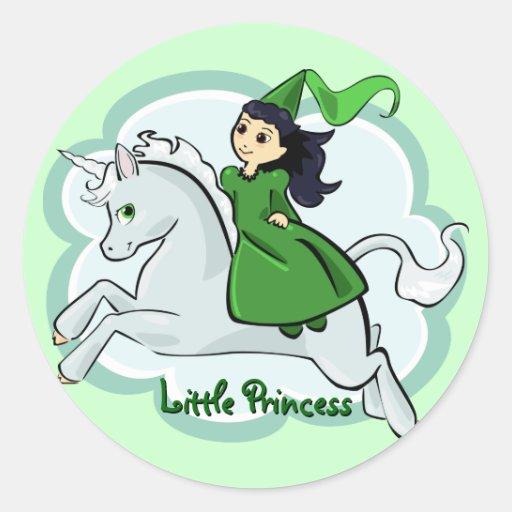 Princesa y pegatina del unicornio