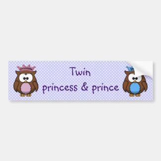 princesa y príncipe gemelos del búho etiqueta de parachoque
