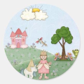Princesa y su castillo pegatina redonda