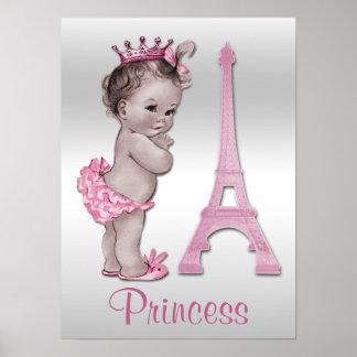Princesa y torre Eiffel del bebé del vintage Póster