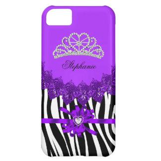 princesa Zebra Tiara Purple Bejeweled del iPhone 5 Carcasa Para iPhone 5C