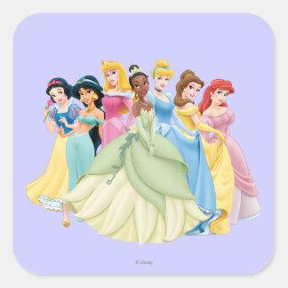 Princesas 12 de Disney Pegatina Cuadrada