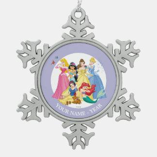 Princesas 3 de Disney Adorno De Peltre En Forma De Copo De Nieve