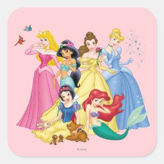 Princesas 3 de Disney Pegatina Cuadrada