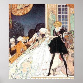 Princesas de baile del vintage doce de Kay Nielsen Póster