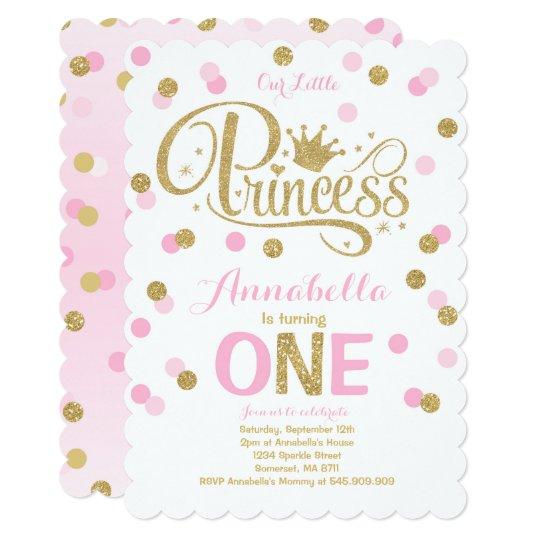 Princess 1st birthday invitation pink gold invite zazzle princess 1st birthday invitation pink gold invite filmwisefo