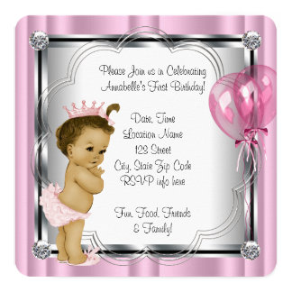 Princess 1st Birthday Party Card