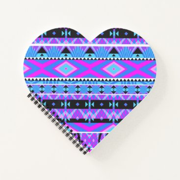 Aztec Themed Princess #2 - Purple Aztec Heart Shaped Notebook
