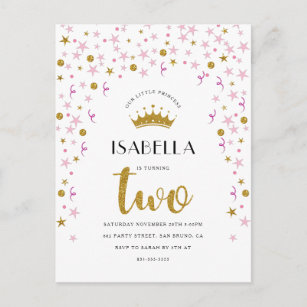 Princess 2nd Birthday Invitations