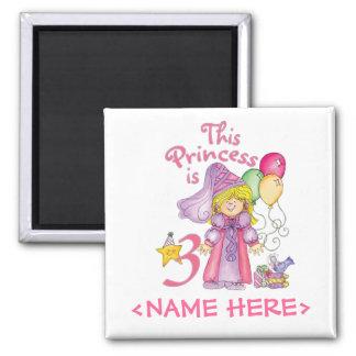 Princess 3rd Birthday 2 Inch Square Magnet
