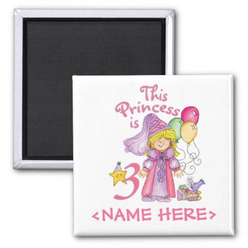 Princess 3rd Birthday Fridge Magnets