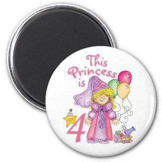 Princess 4th Birthday 2 Inch Round Magnet