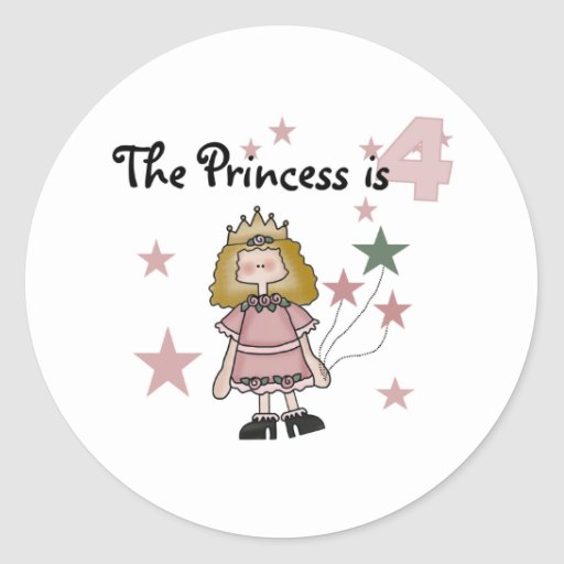 Princess 4th Birthday Sticker