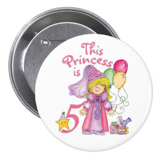 Princess 5th Birthday Button