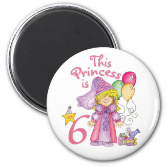 Princess 6th Birthday Magnet