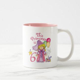 Princess 6th Birthday Two-Tone Coffee Mug