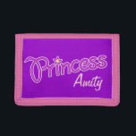 """Princess add your own name girls kids purse tri-fold wallet<br><div class=""""desc"""">Cute pink and purple graphic girls princess slogan name purse. Reads Princess Amity or customize with the short name of your choice. Designed by Sarah Trett.</div>"""