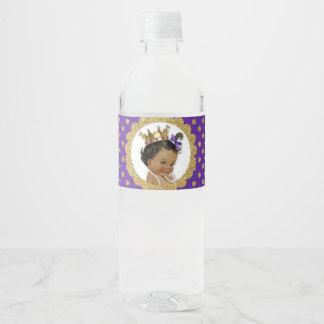 Princess African American Crown Gold Purple Water Bottle Label
