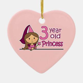 Princess Age 3 Ceramic Ornament