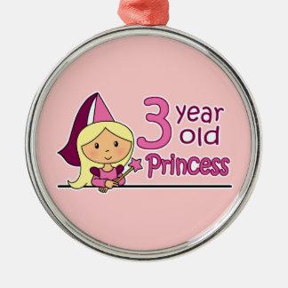 Princess Age 3 Metal Ornament
