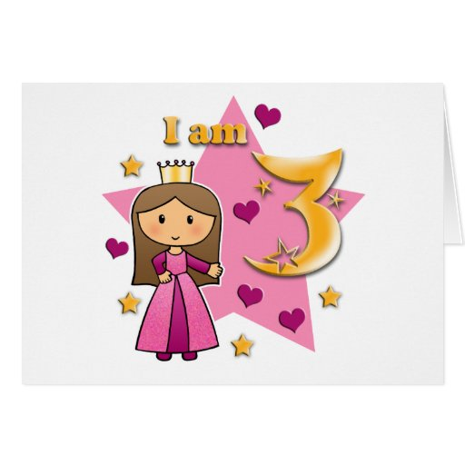 Princess Age 3 Stationery Note Card