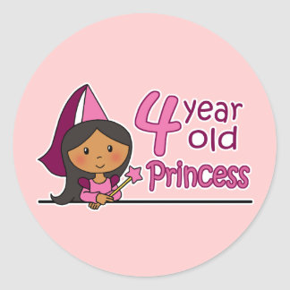 Princess Age 4 Classic Round Sticker