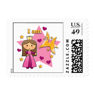 Princess Age 4 Stamp