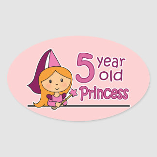 Princess Age 5 Oval Sticker