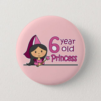 Princess Age 6 Pinback Button