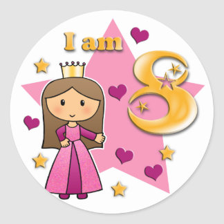Princess Age 8 Classic Round Sticker