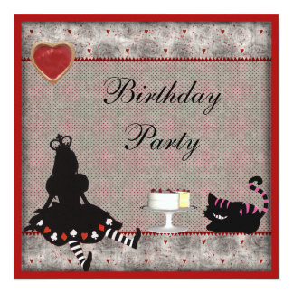 Princess Alice & Cheshire Cat Birthday Party 5.25x5.25 Square Paper Invitation Card