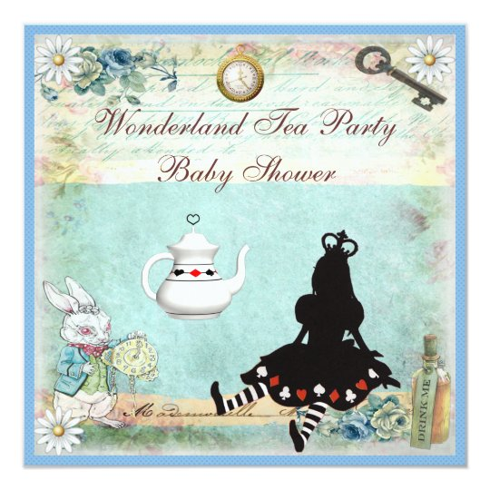 Princess Alice in Wonderland Baby Shower Tea Party Card