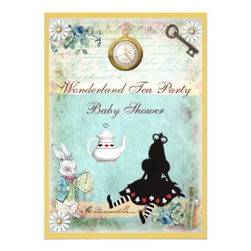Princess Alice in Wonderland Baby Shower Tea Party Personalized Announcements