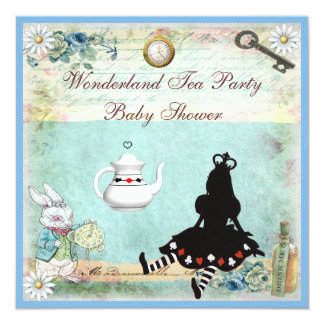 Princess Alice in Wonderland Baby Shower Tea Party 5.25x5.25 Square Paper Invitation Card