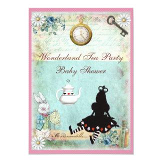 Princess Alice in Wonderland Baby Shower Tea Party 5x7 Paper Invitation Card