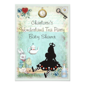 Princess Alice in Wonderland Tea Party Baby Shower Card