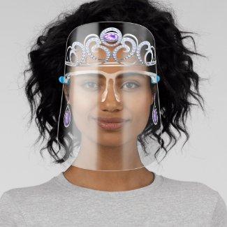 Princess Amethyst & Diamond Tiara & Drop Earrings Face Shield