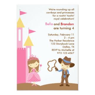 "Princess and Cowboy Invitation 5"" X 7"" Invitation Card"