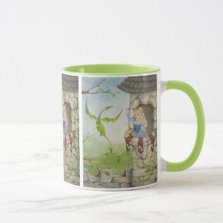 Princess and Dragon Mug in Green