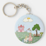 Princess and her castle basic round button keychain