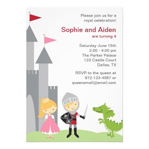 Princess and Knight Birthday Invitations Custom Invitations