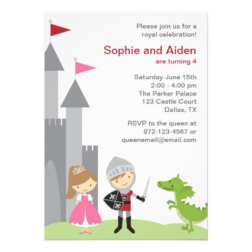 Princess and Knight Birthday Invitations Announcements